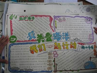 关注海洋活动手抄报图片-福州第四中学